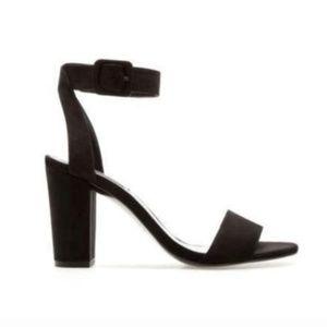 Zara Suede Ankle Strap Block Heel Size 9